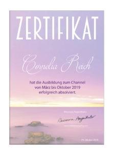 Zertifikat Channelingausbildung SantaraMa Cornelia Reich 2019