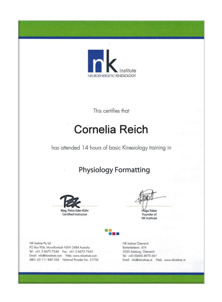 SantaraMa - Cornelia Reich - Mein Werdegang und Ausbildungen - Kinesiologie Diplom
