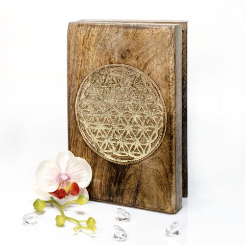 Holzkassette mit goldener Lebensblume