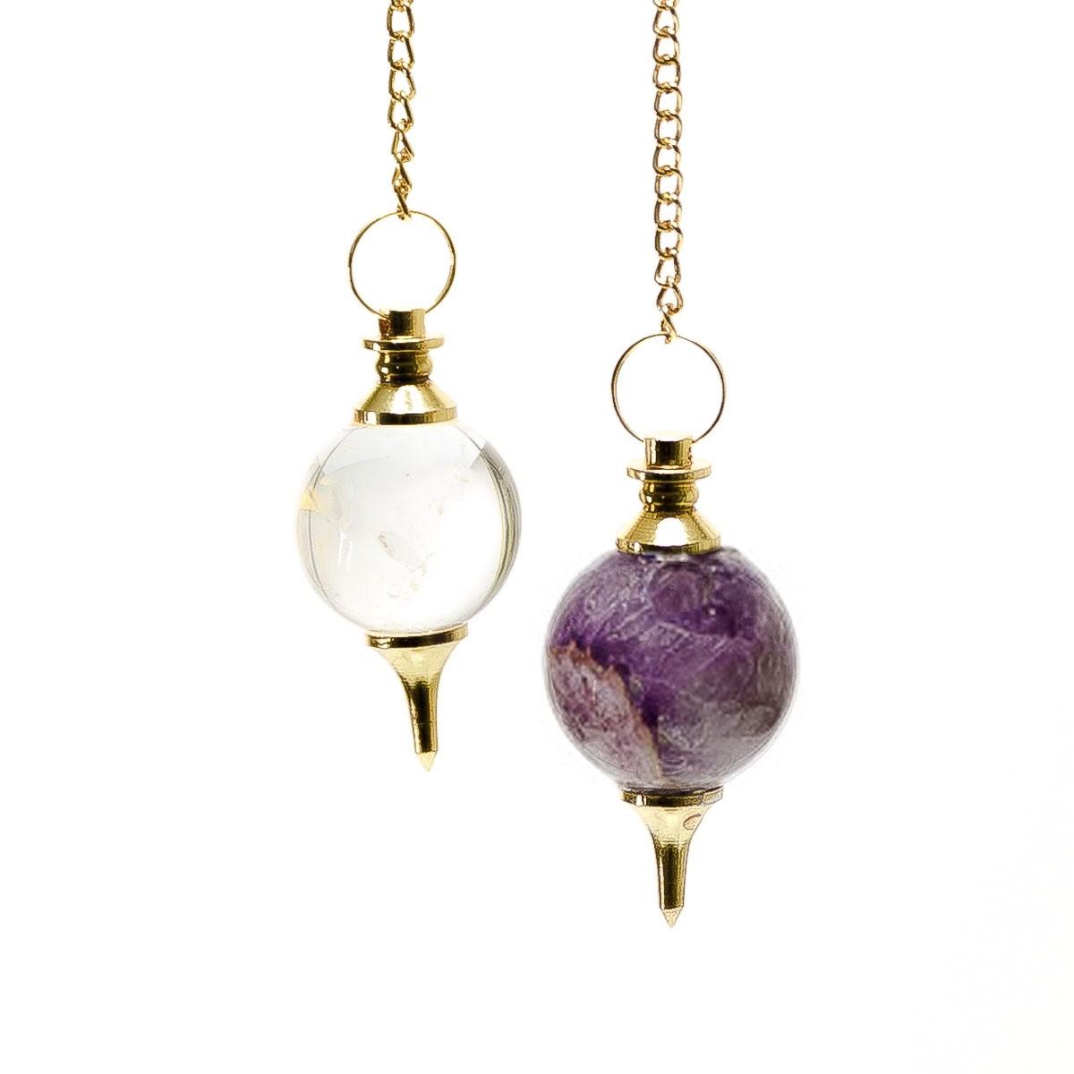 Bergkristall Kugelpendel – gold