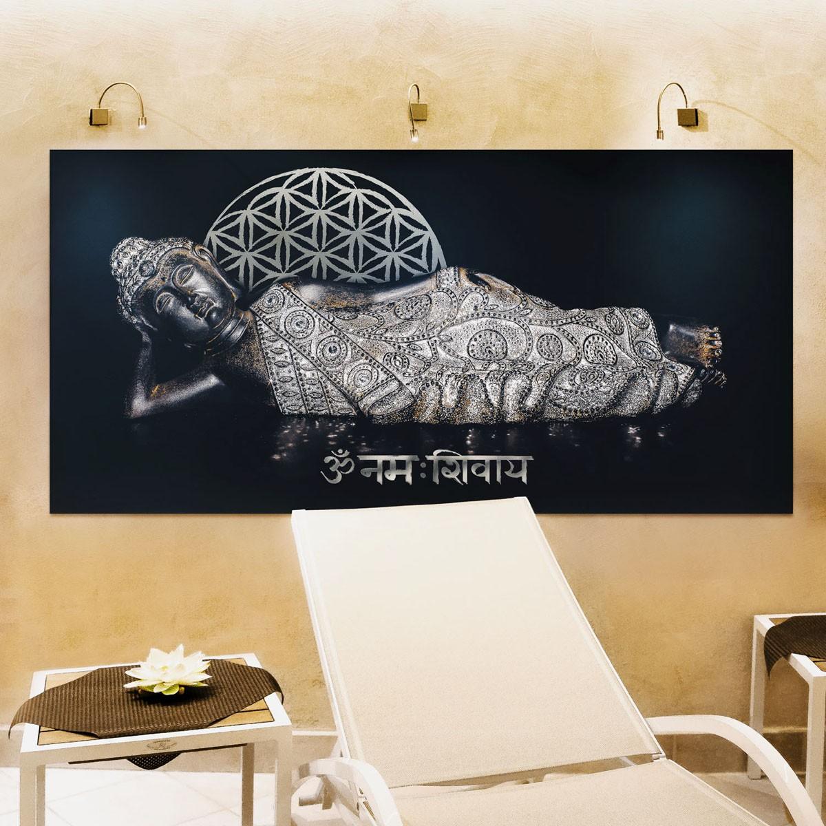 """Wandbild """"Liegender Buddha"""" 100 x 50cm"""