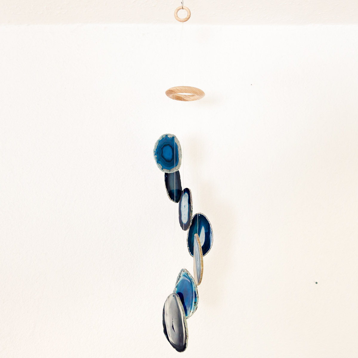 """Achat Windspiel """"blau"""", 40 cm mit 7 natürlichen Achat Scheiben"""