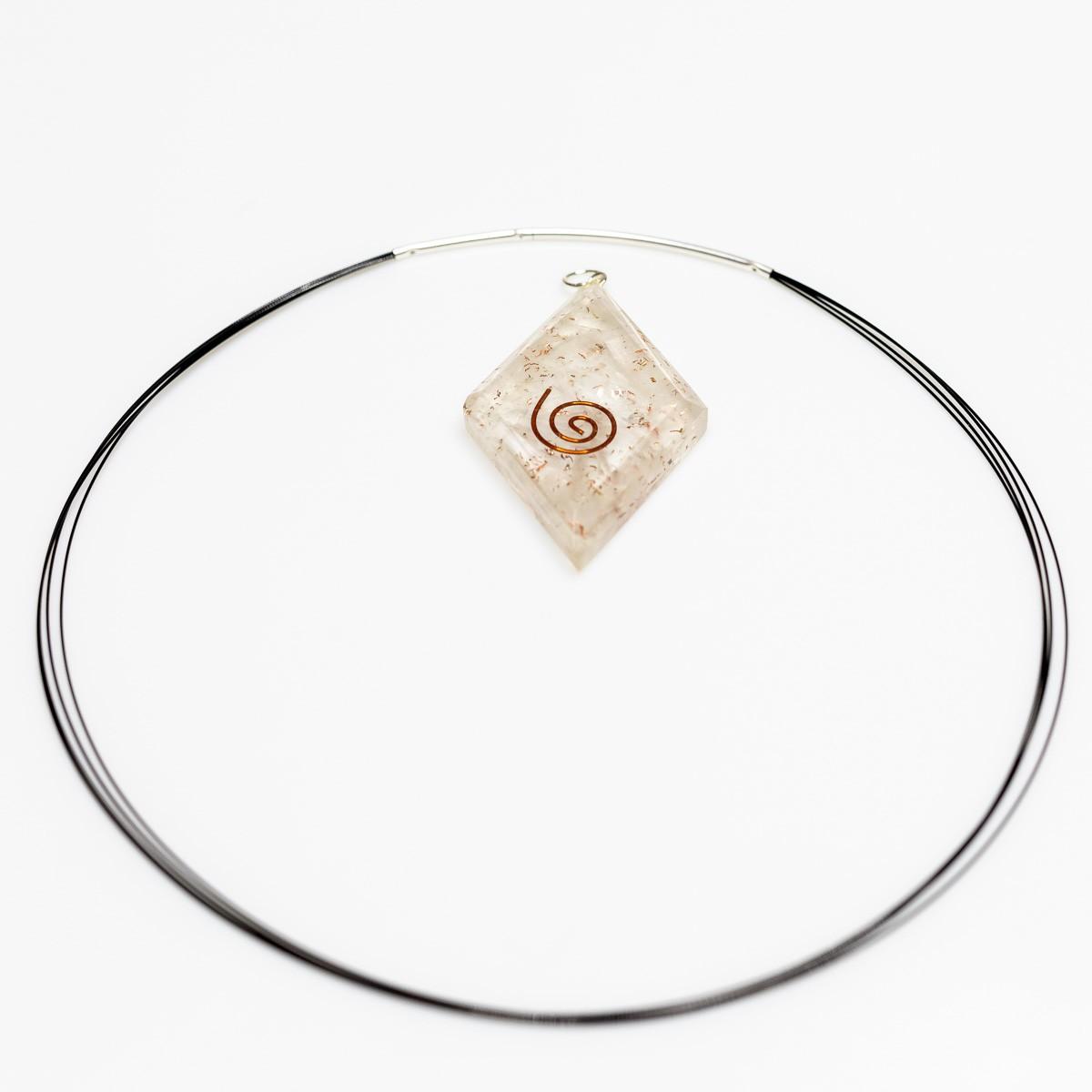 Orgonit Anhänger Selenit, diamantförmig