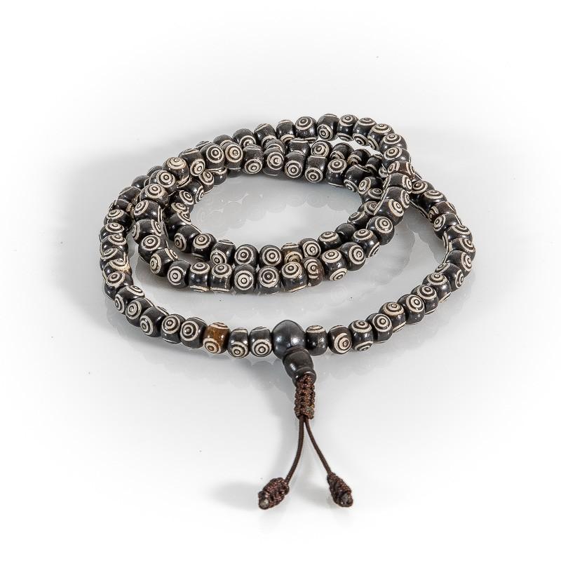 Mala Kette schwarz/weiß mit 108 Guru Perlen – 8 mm