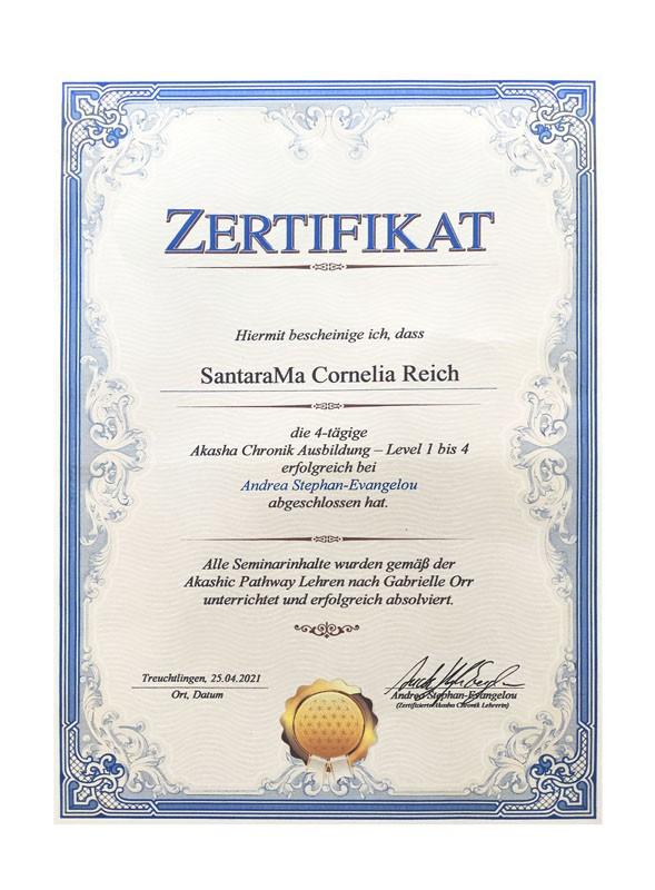 Zertifikat Akasha Cronik - SantaraMa - Cornelia Reich - Mein Werdegang und Ausbildungen